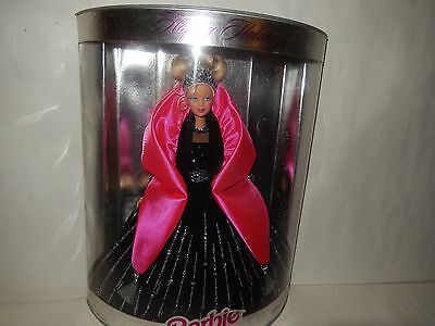NRFB Barbie Doll Happy Holidays 1997 PINK BLACK 6th Christmas Gown Outfit Box