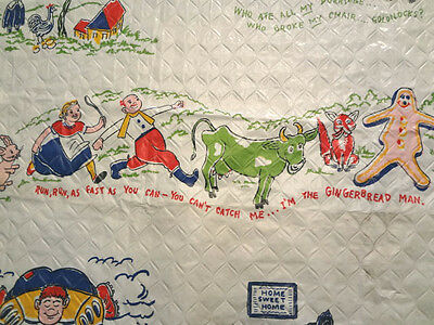 2 Pairs Vintage Quilted Plastic Nursery Rhyme Curtains With Valance