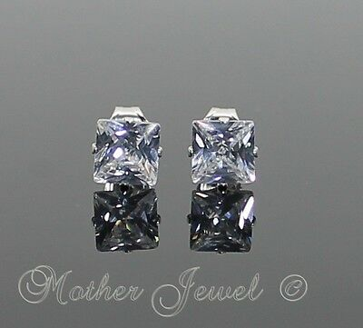 5mm REAL SOLID 925 STERLING SILVER Simulated Diamond Square Earrings Studs