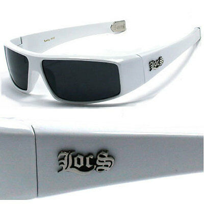 Locs Mens Gangster Sports Sunglasses Free Pouch - White - LC26