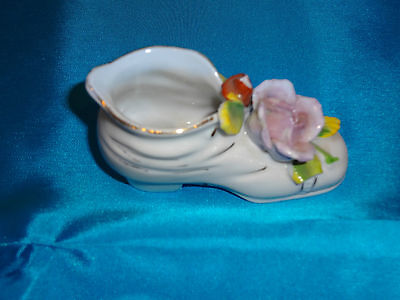 Delicate White China Shoe w/Floral Accents - Made in Occupied Japan