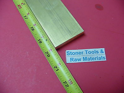 "1/2"" x 2"" C360 BRASS FLAT BAR 20"" long Solid .500"" Plate Mill Stock H02"