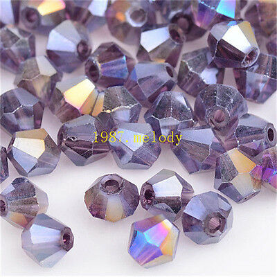 100pcs purple ab exquisite Glass Crystal 4mm #5301 Bicone Beads loose beads!