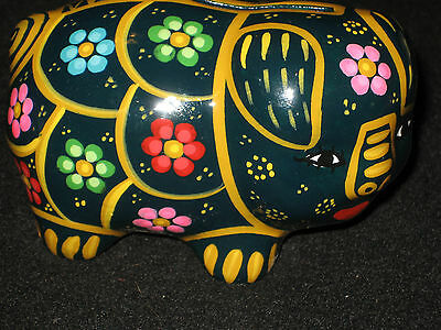 Small Piggy Bank Hand Painted Flowers Mexican Pottery Art Great Grandkids Gift