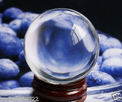 ASIAN QUARTZ Clear Crystal Ball Sphere 40mm +Stand @C