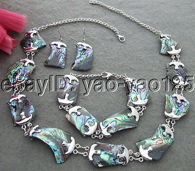 natural 18x27MM Paua Abalone Shell Necklace Bracelet Earrings Set