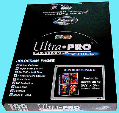 100 ULTRA PRO PLATINUM 4-POCKET Pages Sheets Protectors 1 Box Binder Hologram