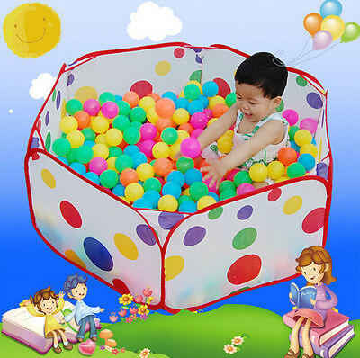 120cm Kid Portable Outdoor Indoor Fun Play Tent House Playhut Hut Ball Pool USES