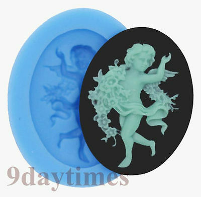 Angel Cameo Cabochon Silicon Mold For Polymer Clay Cake Decorating 40x30mm