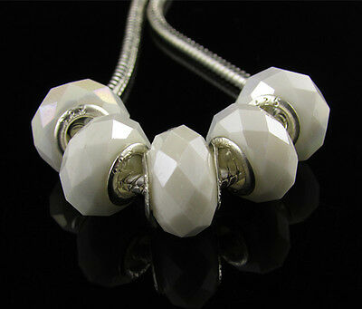 5 x Silver Core Porcelain White AB Crystal Glass Beads Fit Charm Bracelet H55