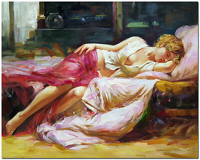 Dreaming in Color - Genuine Hand Painted Pino Daeni Repro Oil Painting On Canvas