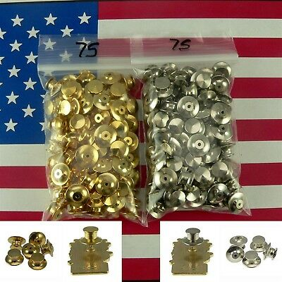 75 Locking Low Profile Pin Backs Keepers Gold Chrome Fit Disney Military Biker