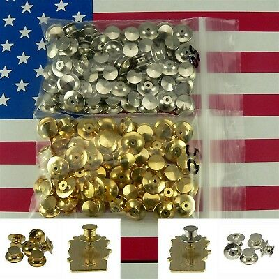 50 Locking Flathead Pin Backs Clutch Fastener Gold Chrome For Disney Collectible