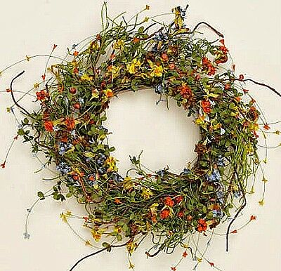 New Primitive French Country Tuscan Red Orange Yellow Blue Floral Wispy Wreath