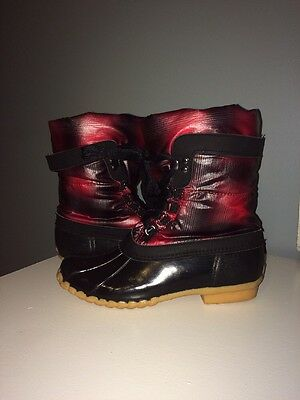 Sporto women's winter snow duck boots red and black plaid size 6