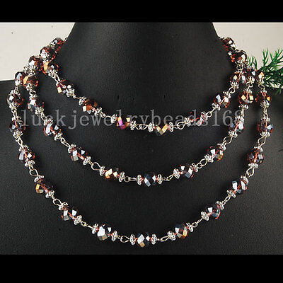 """AB Middle Purple Crystal Faceted Bead Necklace Long Chain 50"""" L FG5892"""