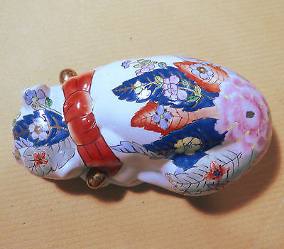 Vintage Chinese Hand Painted Porcelain Sleeping Cat made in Macau