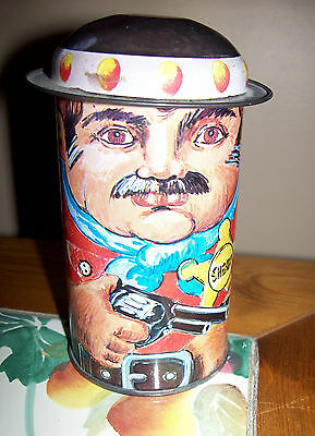 Vintage Sheriff wearing Hat with Gun Pistol Badge Metal Tin Canister Very Sweet
