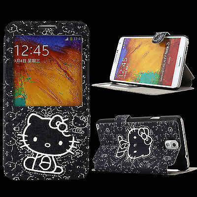 Case for Samsung Galaxy Note 3 III Cover KLS4 Skin PU Leather Hello Kitty