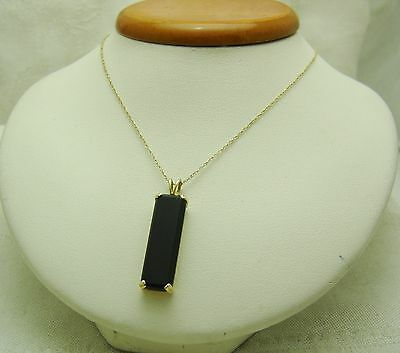 """STRIKING Black Onyx Stone With 14k Yellow Solid Gold Fine 18"""" Chain R135-I"""