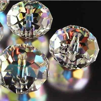 70pcs 6x8mm Clear AB Swarovski Crystal Loose Beads