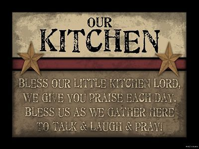 BLESS OUR LITTLE KITCHEN LORD SIGN Inspirational Primitive Rustic Home Decor