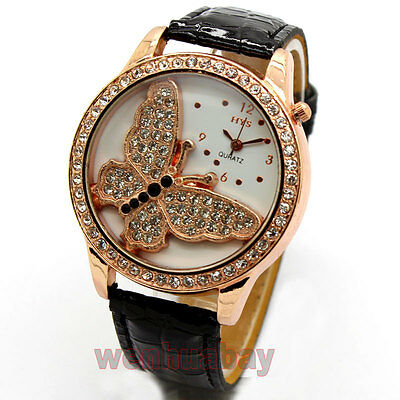 New 3D Butterfly Women Leather Band Round Crystal Dial Quartz Wrist Watch  Q2121