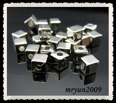 Free LOT 200pcs Acrylic Square CUBE BEADS silver plate Dream Spacer Beads 4x4mm