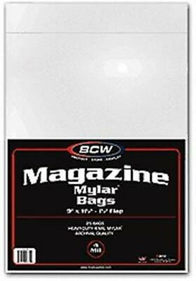 100 New BCW Magazine Size 4 Mil Mylar Bags archival acid free soft covers