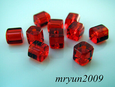 Free 200pcs TOP Glass CRYSTAL Square CUBE Red Dream Charms Beads findings 4x4mm