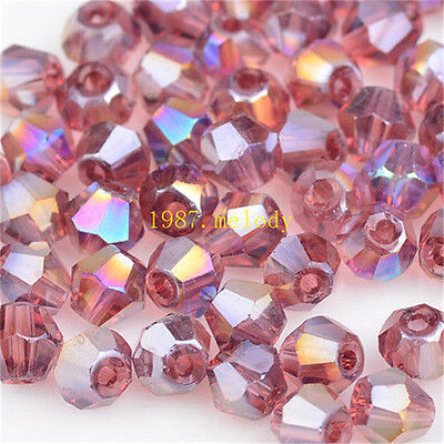 100pcs purple red ab exquisite Glass Crystal 4mm #5301 Bicone Beads loose beads!