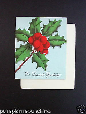 #G476- Vintage Unused Norcross Xmas Greeting Card Pretty Holly Berry Cluster