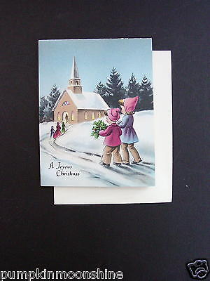 #G473- Vintage Unused Norcross Xmas Greeting Card Children Walking to Church