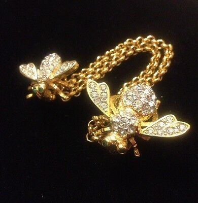 Joan Rivers Gold Plated Clear Crystal Mama Bee & Baby Bee +Chatelaine Pin Brooch