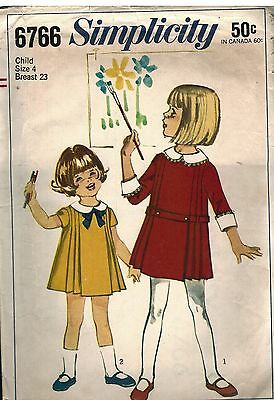 6766 Simplicity Vintage Sewing Pattern Girls One Piece Dress Front Pleats OOP