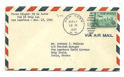 1950 First flight cover new york to paris fam 18 trip 114 pan american air mail
