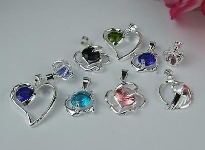 Wholesale 5pcs  925Sterling silver Mixed Color Crystal Necklace Charm Pendant