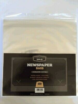 Pack of 100 CBG Newspaper 2 Mil Clear Archival Soft Poly Bags 13 3/8 X 11 7/8