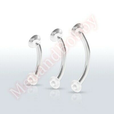 Clear Curved Retainer Eyebrow Or Belly Bar Ring CHOOSE SINGLE PAIR BULK PACK