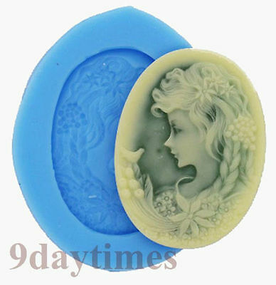Belle Girl Head Cabochon Silicone Mold For Polymer Clay Crafts Chotolate 40x30mm