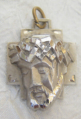 Vintage Catholic Religious Holy Medal / STERLING / Holy Face of Jesus - 3D
