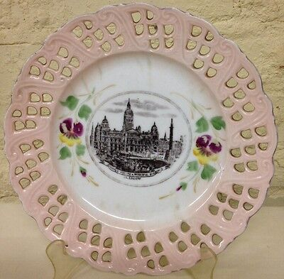 """Vintage 8 1/2"""" Reticulated Souvenir Plate of Glasglow - Made in Bavaria"""
