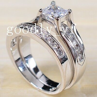Size 9 S925 Silver Filled Crystal 3A Cubic Zirconia CZ Women Wedding Ring Set
