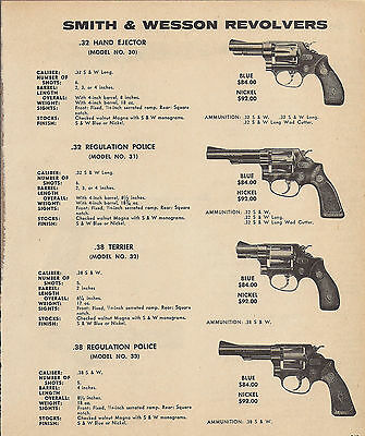 1971 SMITH & WESSON S&W Model 30, 31 Police, 32 Terrier, 33 REVOLVER AD w/ specs