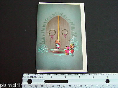 Vintage Unused Norcross Xmas Greeting Card Musical Children At Church