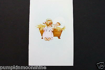 Vintage Unused Norcross Xmas Greeting Card Angel Praying over Baby Jesus