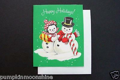 Vintage Unused Mid Century Xmas Greeting Card Cute Snowman Couple all Decked Out