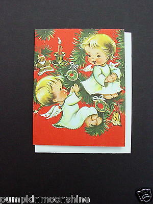 Vintage Unused Norcross Xmas Greeting Card Sweet Angels Hanging Tree Ornaments