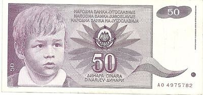 Yugoslavia 50 Dinara P104 Note AU/UNC 1990 #AO4975782 Hyperinflation Currency