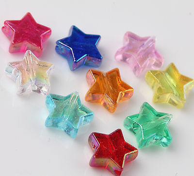 New 50Pcs Acrylic Mixed Star Shaped Beads Charm Jewelry Findings DIY 10MM